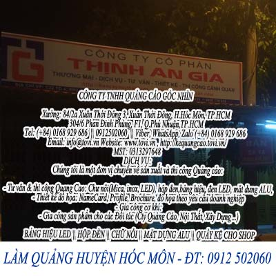 Bảng giá làm bảng hiệu huyện Hóc Môn