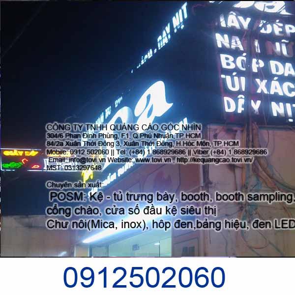 Làm bảng hiệu hộp đèn chữ nổi giá rẻ Tân Phú